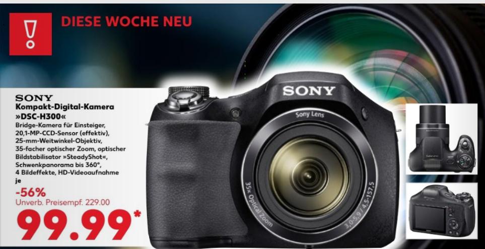 """[Kaufland (lokal, aber sehr oft) ab 10.08] Sony Einstiegsbridge DSC-H300 (20.1 MP CCD Sensor (effektiv), 35x optischer Zoom, 25mm Weitwinkel-Objektiv, Optischer Bildstabilisator """"SteadyShot""""HD) schwarz für 99,99 €"""