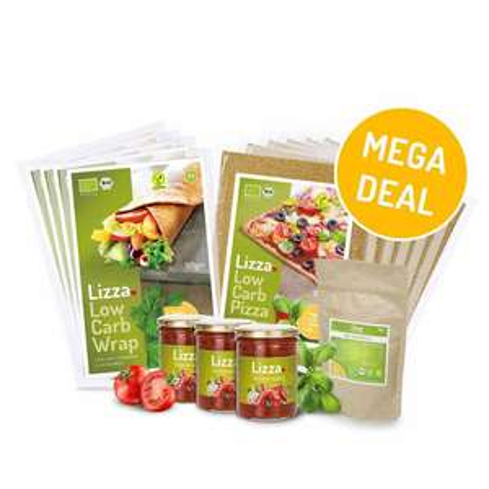 [Telekom-Kunden] Lizza (Low Carb Pizza)-Paket (6 Teige, 3 Saucen, 4 Wraps, 1xChiamehl)