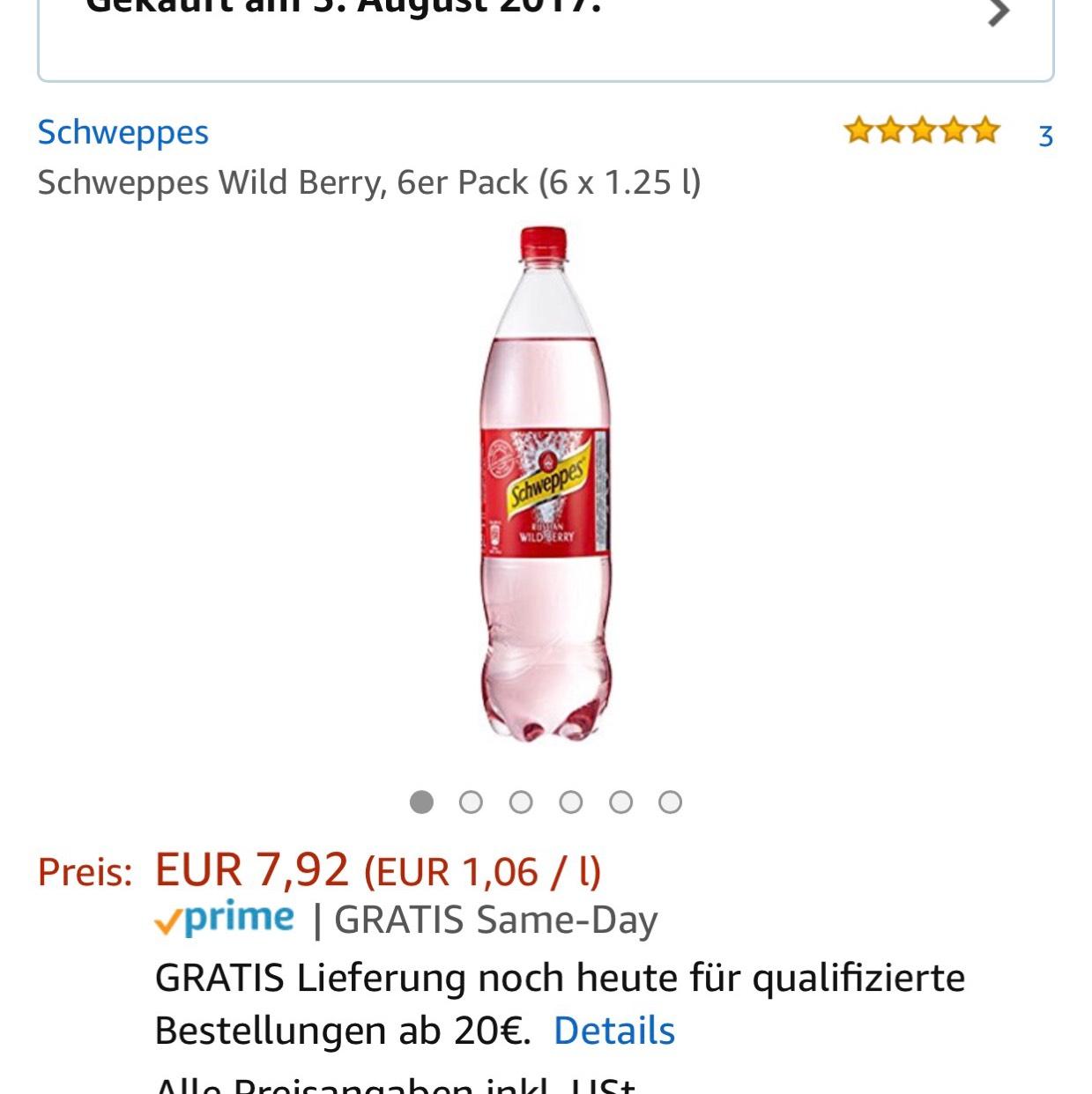 Schweppes Russian Wild Berry 6x1,25 l für umgerechnet 1,06€/l mit Amazon Prime