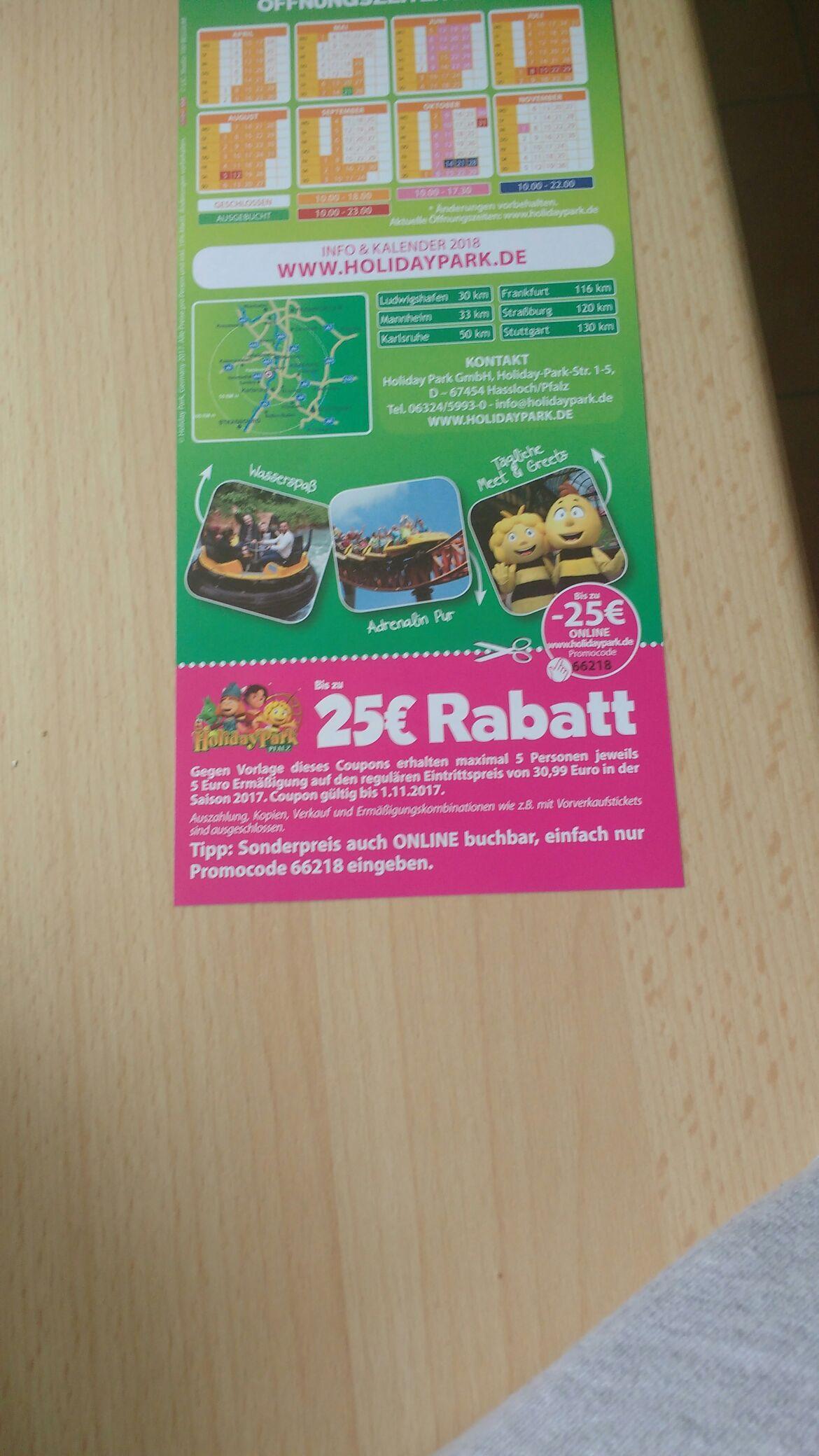 5€ günstiger in den Holiday-Park. Kombinierbar!!!