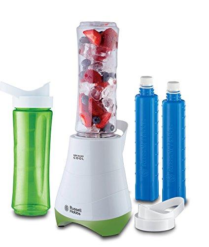 Russell Hobbs 21350-56 Standmixer Mix & Go Cool /Smoothie Maker(300 Watt) inkl. 2 Trinkflaschen mit Kühlakku, weiß-grün Amazon Prime