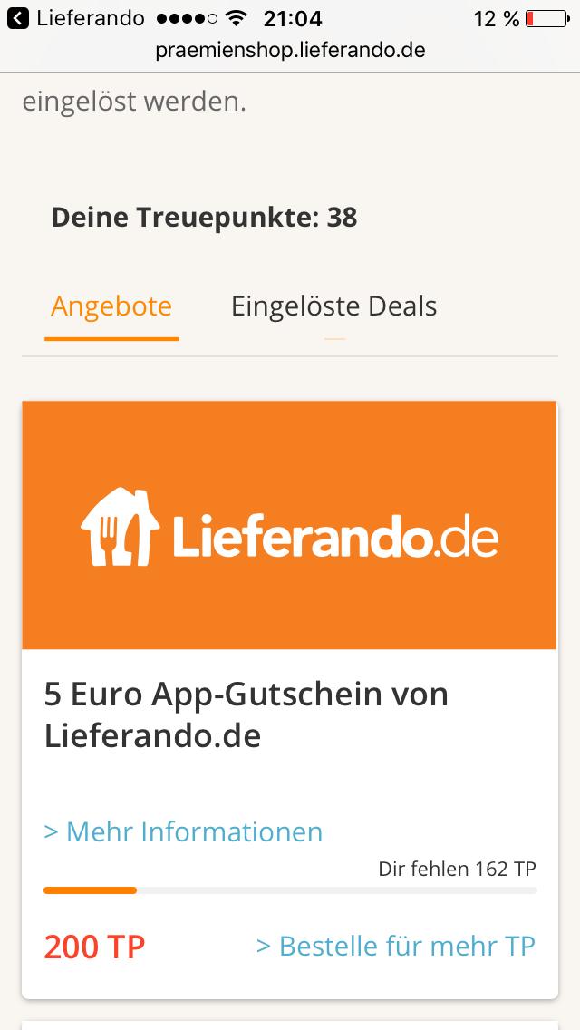 [Lieferando-Prämienshop] 5€ Guthaben für 200 Treuepunkte