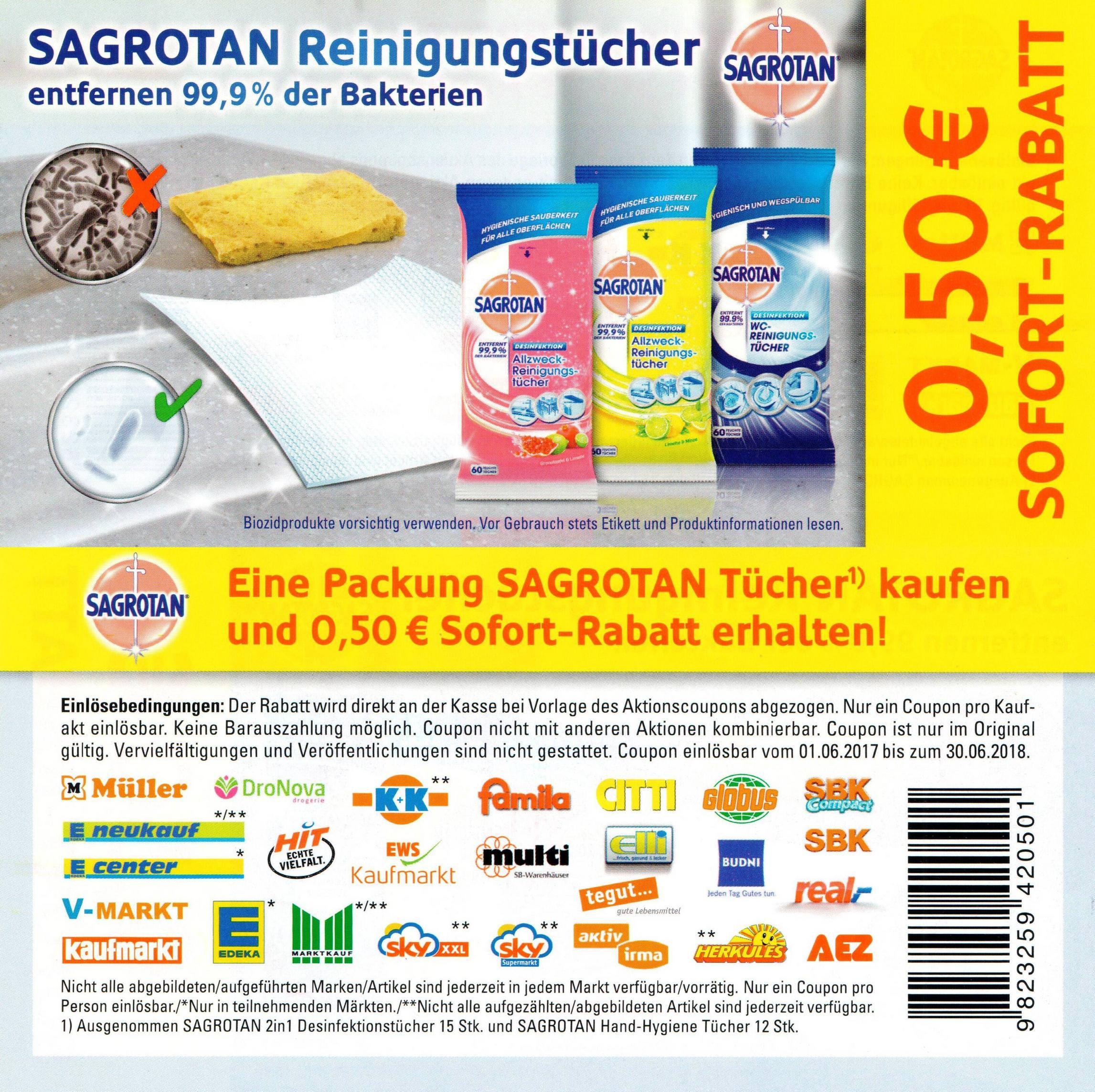 0,50€ Sofort-Rabatt-Coupon für eine Packung Sagrotan Tücher bis 30.06.2018 [Bundesweit]