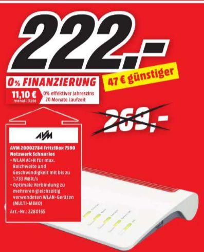 [Lokal Mediamarkt Lingen/Meppen] AVM FRITZ!Box 7590 High-End WLAN AC + N Router (VDSL-/ADSL-/ADSL2+, 4x4 MU-MIMO mit 1.733 (5 GHz) + 800 MBit/s (2,4 GHz), bis zu 300 MBit/s  für 222,-€