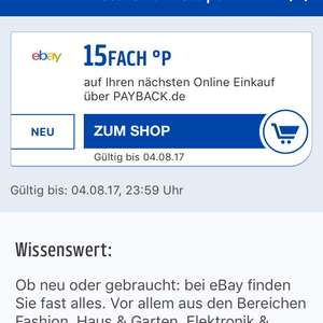Payback App EBay 15fach Punkte