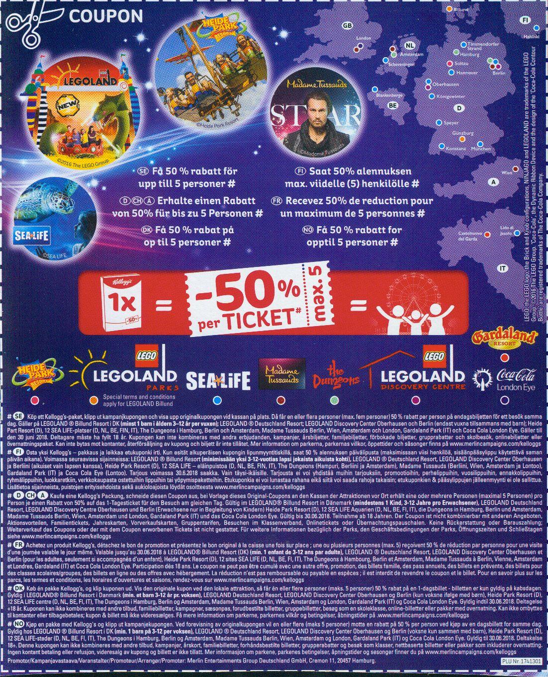 - 50 % für 5 Personen Heidepark, Sealife, Legoland und andere