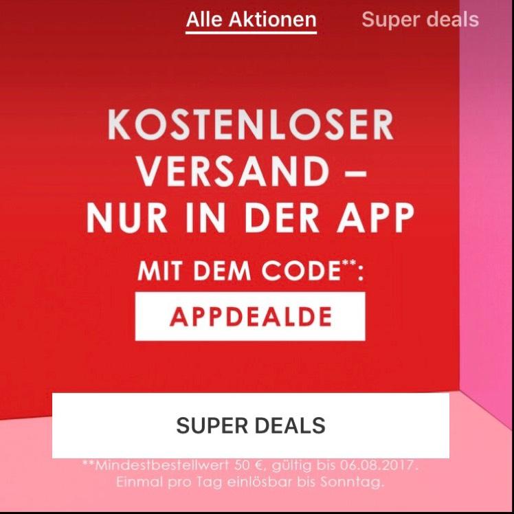 [Zalando Lounge] Kostenloser Versand i.d. App ab 50€ MBW