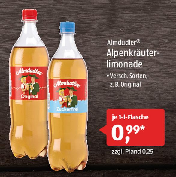 [Aldi-Süd] Original Almdudler 1l für 0,99€ (zzgl. 0,25€ Pfand) vers. Sorten wie Original oder zuckerfrei am 18. und 19.08.