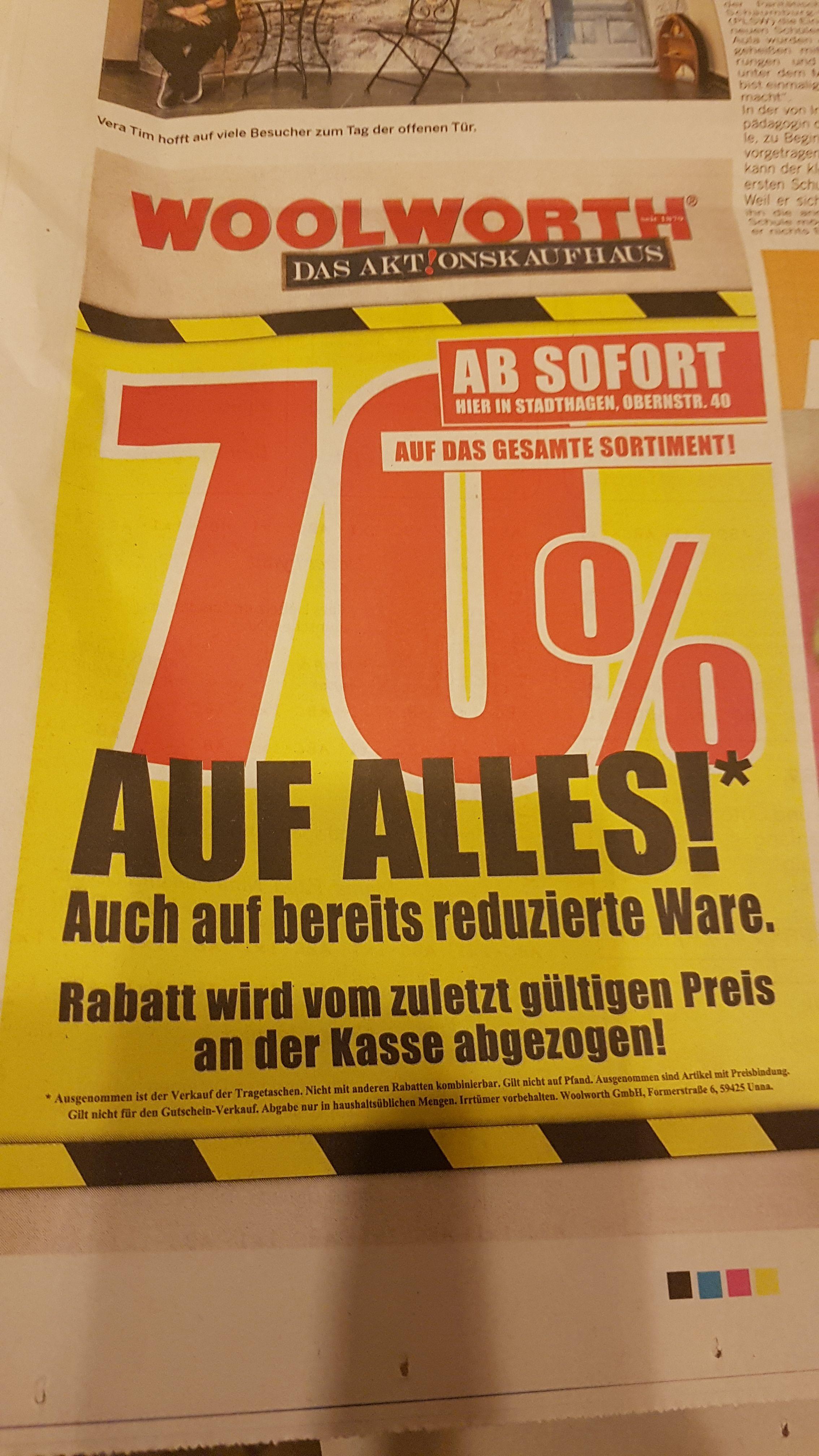 [Lokal Woolworth Stadthagen] 70% auf ALLES. Auch auf Reduzierte Ware