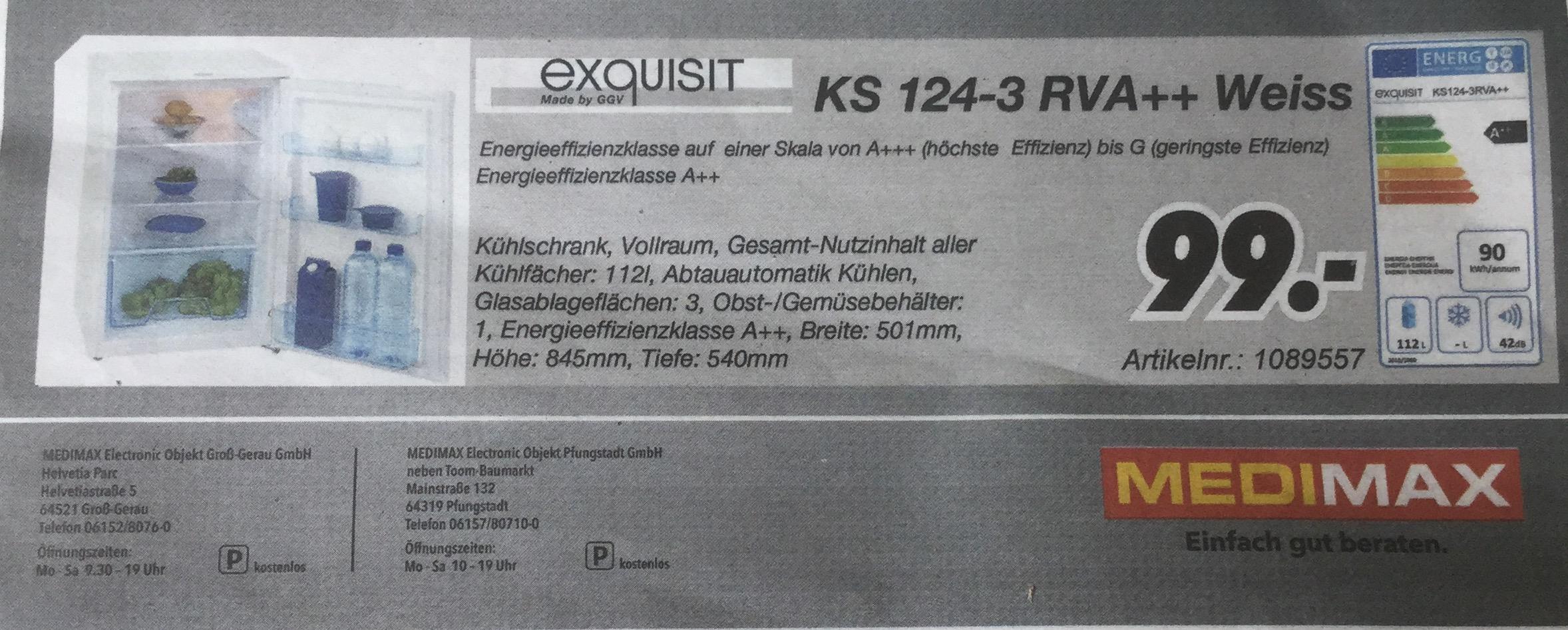 Standkühlschrank Exquisit KS 124-3 RVA++ Idealo 149.-€ (Lokal Gross-Gerau)