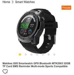 Interessante Smartwatch Makibes G05 Smartwatch GPS Bluetooth MTK2503 32GB TF Card SMS Reminder Multi-mode Sports Compatible