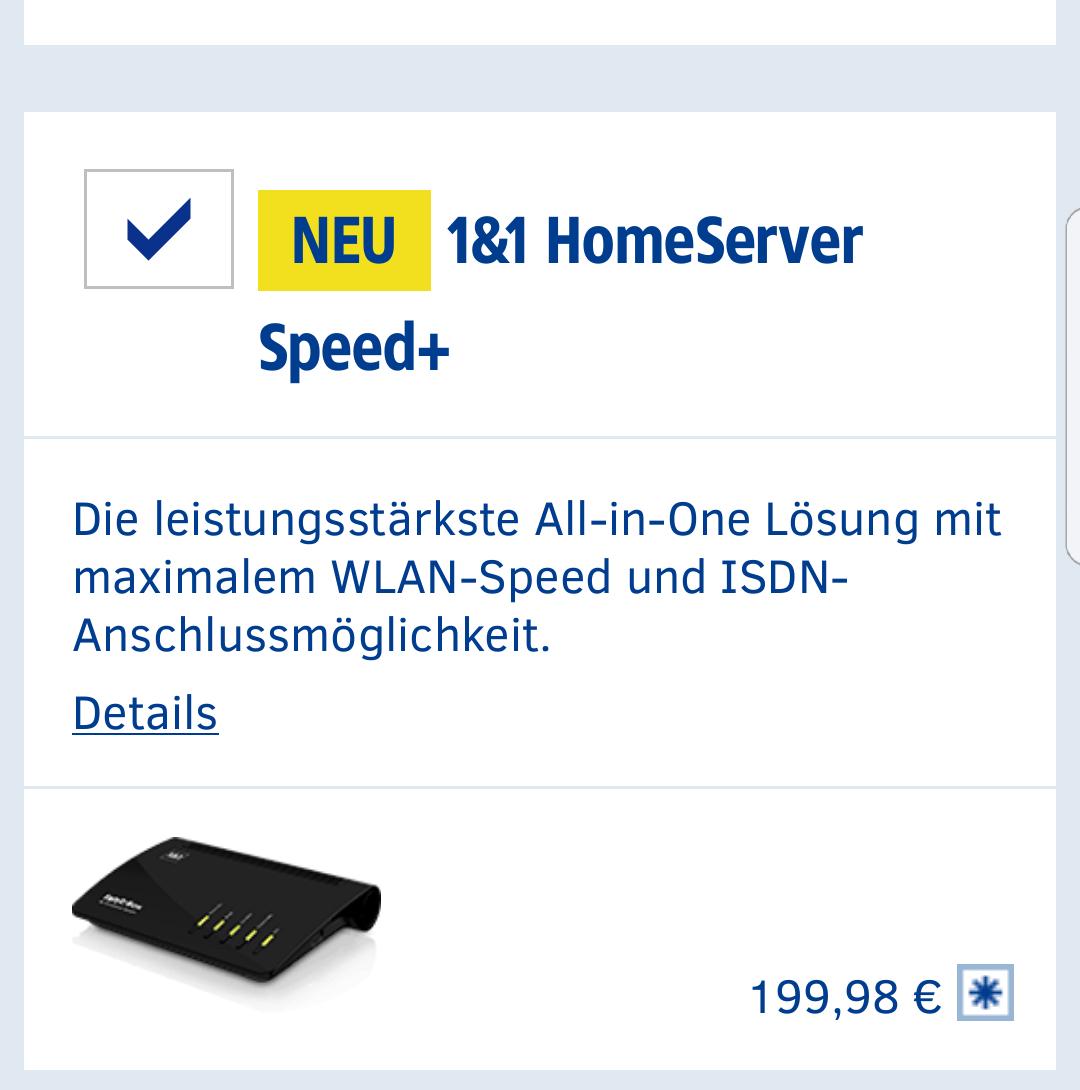 [1und1-Kunden] - FritzBox7590(1&1 HomeServer Speed+) für 199,98€+9,90€ Versand - PVG 265€