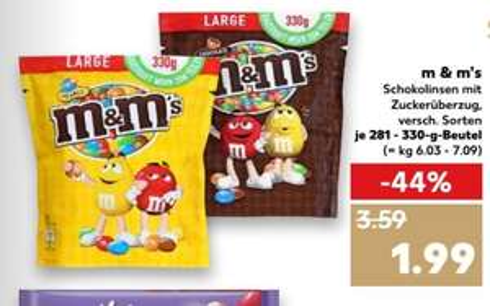 Kaufland M&M's verschiedene Sorten im 281g - 330g Beutel