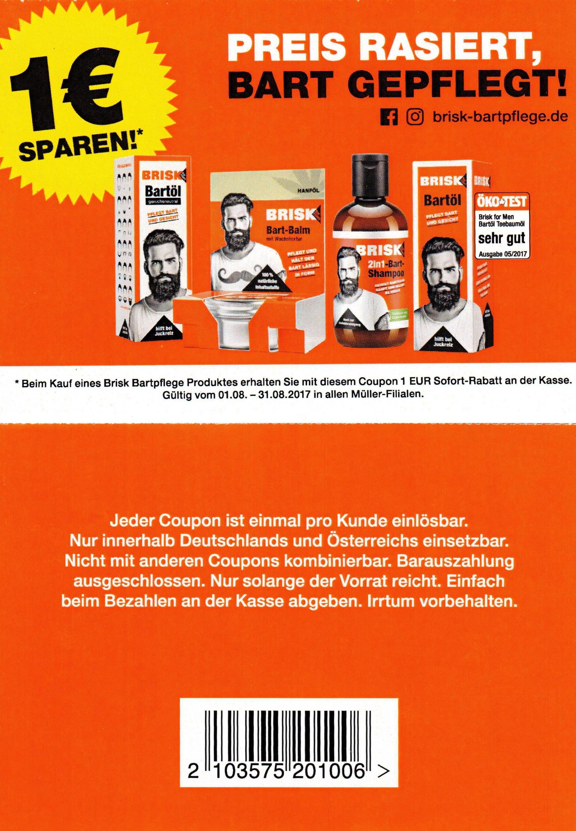 1,00€ Sofort-Rabatt-Coupon für 1 Brisk Bartpflege Produkt bis 31.08.2017 [Müller D+AT]
