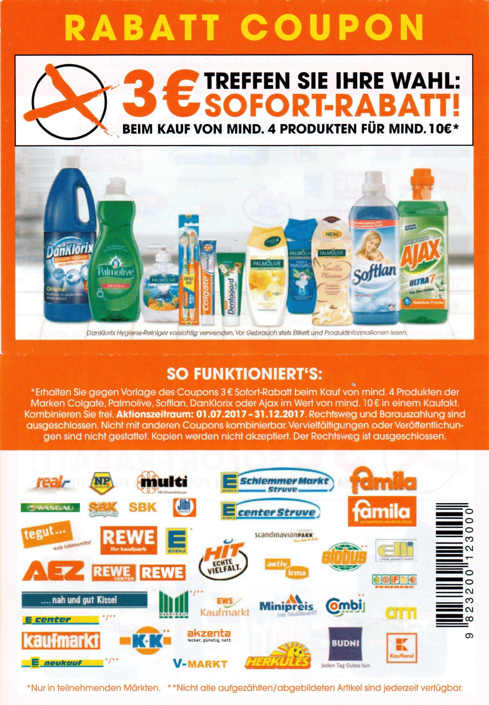 3€ Sofort-Rabatt-Coupon für 4 Produkte der Marken Ajax / Colgate / DanKlorix / Palmolive / Softlan im Wert von 10€ bis 31.12.2017 [Bundesweit]