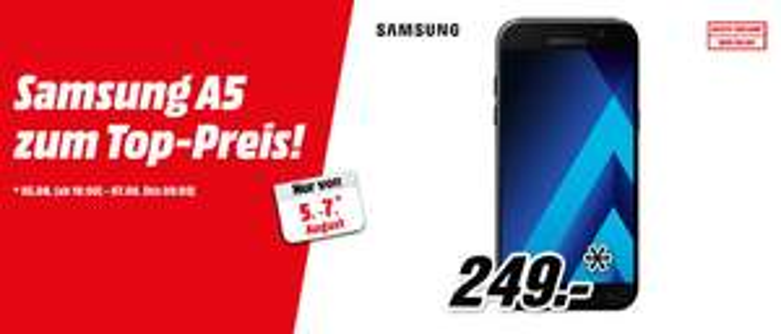 SAMSUNG Galaxy A5 (2017), in schwarz, Gold, rosa oder blau bei Mediamarkt.AT für 248,50€