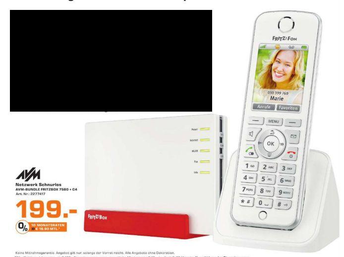 [Lokal Saturn Aachen] AVM FRITZ!Box 7580 DSL Router [DVSL/DSL, WLAN AC bis zu 1.733 MBit/s, 4 x Gigabit-Ethernet] + AVM FRITZ!Fon C4 DECT-Telefon WLAN Wecker Anrufbeantworter (Weiß) für zusammen 199,-€
