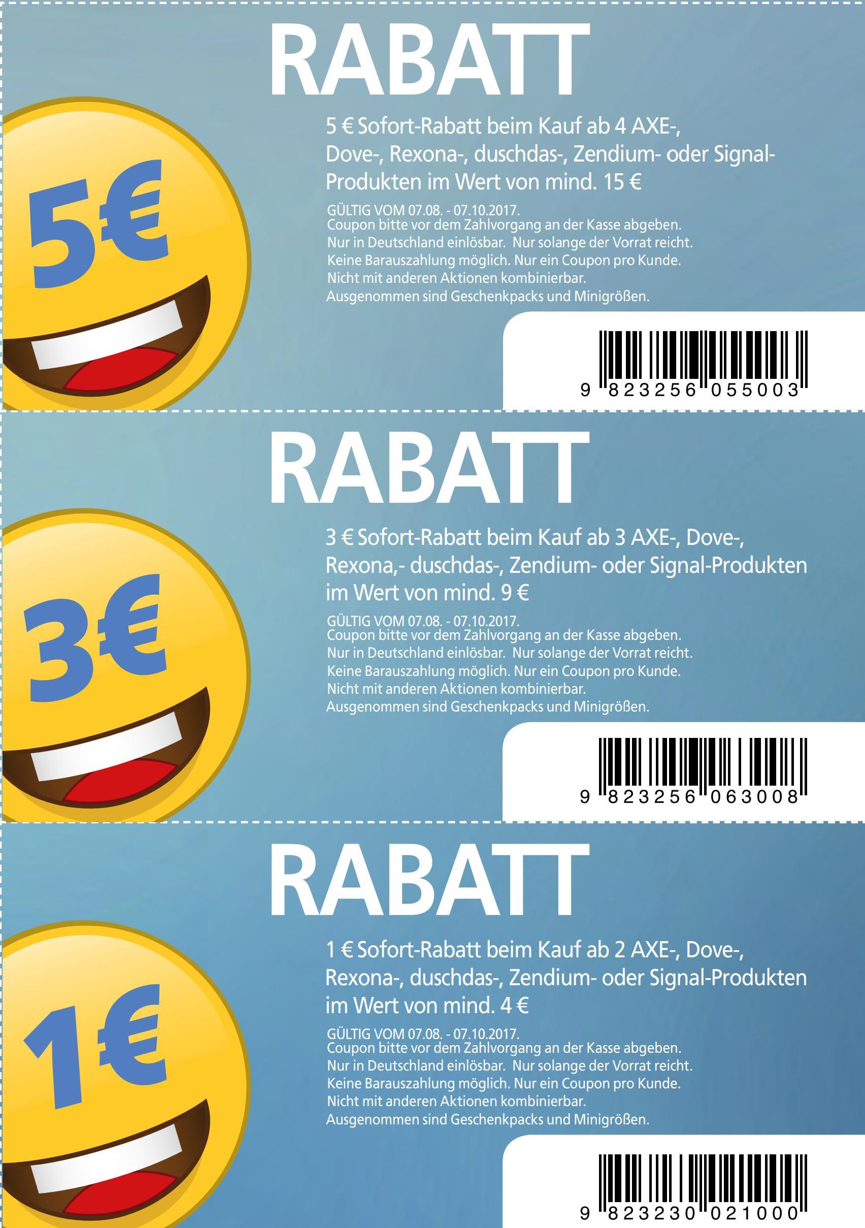 1€/3€/5€ Prospekt-Coupons auf Axe / Dove / Rexona / Duschdas / Signal / Zendium Produkte im Wert von 4€/9€/15€ bis 07.10.2017 [Bundesweit (auch Rossmann) + zum Ausdrucken]