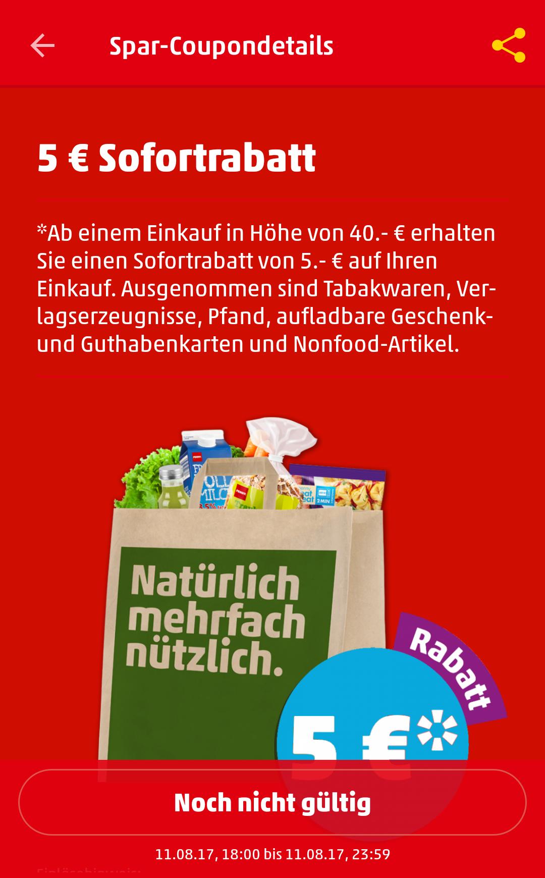 [Penny App] 5 Euro Sofortrabatt bei 40 Euro Einkaufswert nur gültig am 11.08 von 18:00 - 23:59 Uhr