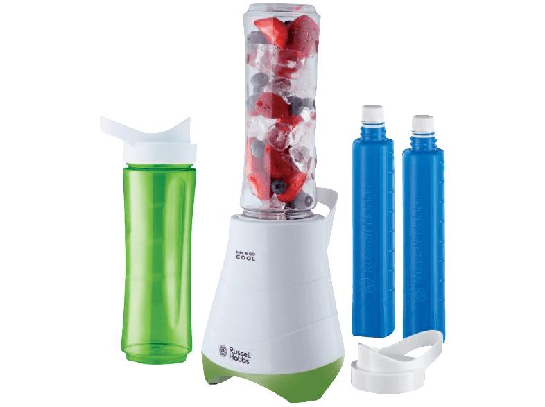 Russell Hobbs 21350-56 Standmixer Mix & Go Cool /Smoothie Maker(300 Watt) inkl. 2 Trinkflaschen mit Kühlakku, weiß-grün [MediaMarkt & Amazon Prime]