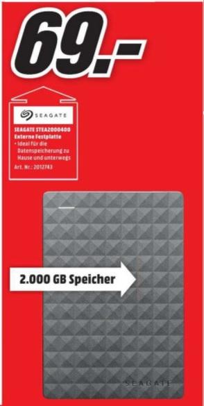 "(Lokal) Seagate Expansion Portable 2TB 2,5"" für 69€ (Ausbaubar für die PS4) @ MM Recklinghausen"