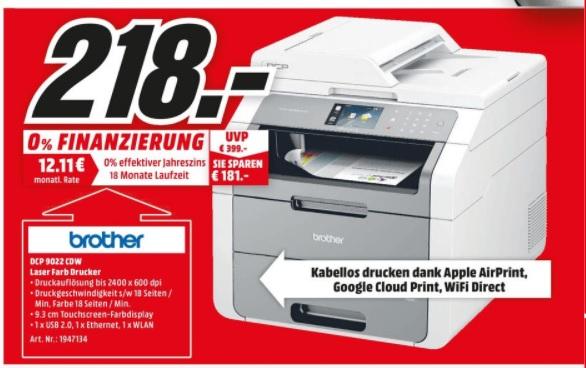 (Lokal) Brother DCP-9022CDW Farblaser-Multifunktionsgerät für 218€ @ Mediamarkt Münster
