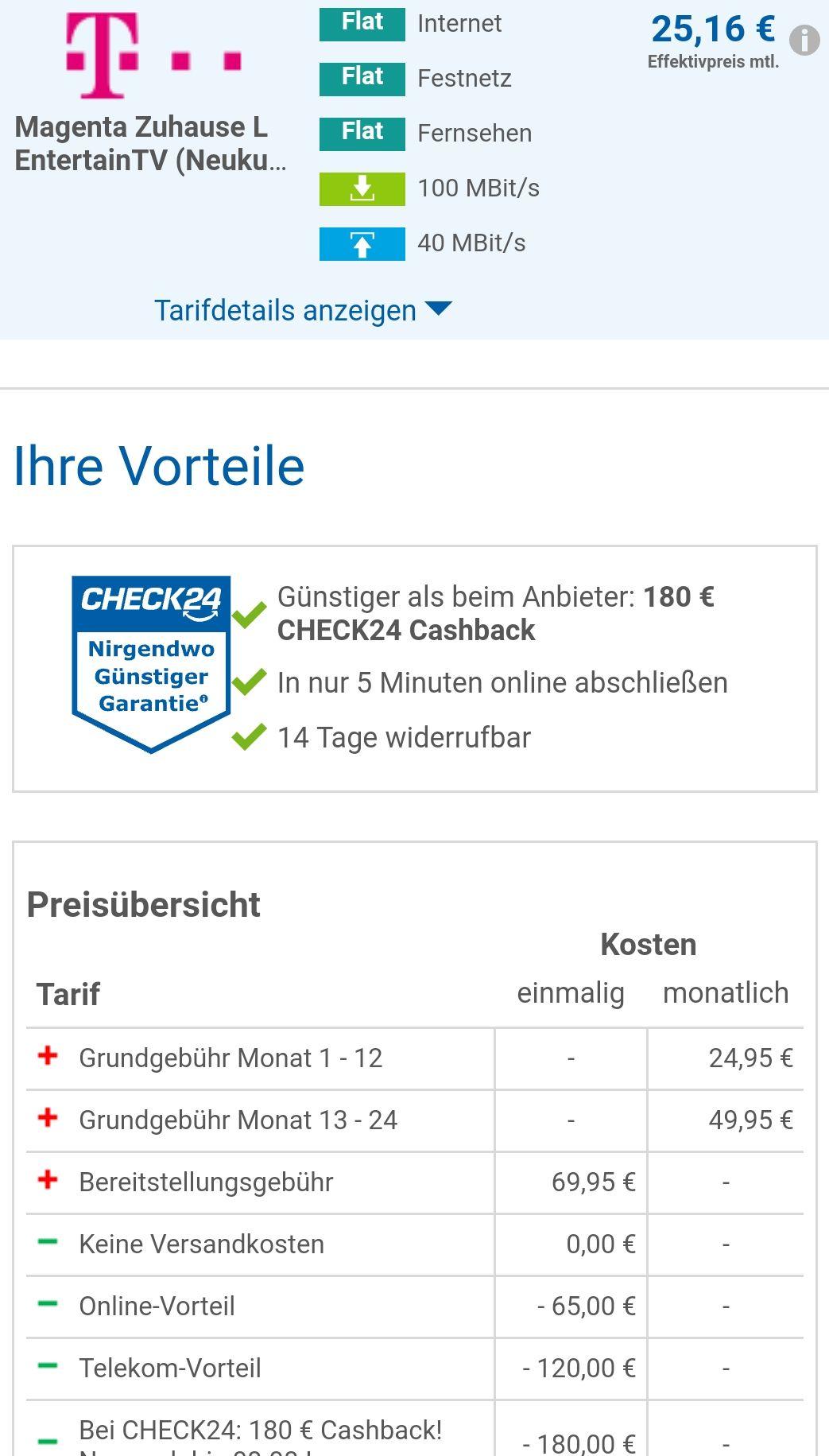 Magenta Zuhause L EntertainTV (Neukunden) 100 Mbit/s 40 Mbit/s inkl.TV