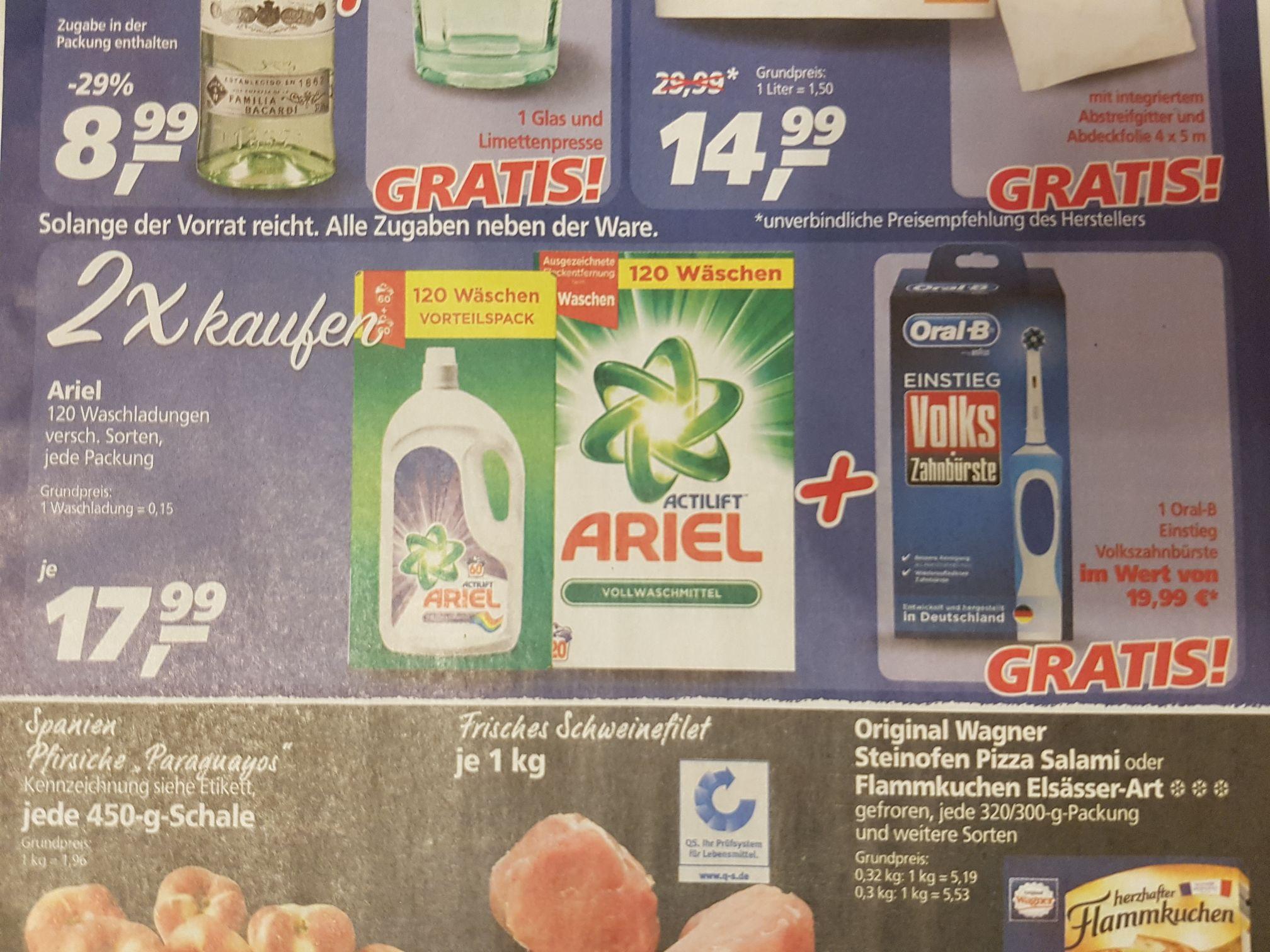 Real 2×Ariel kaufen & Oral b Elektro Zahnbürste gratis bekommen