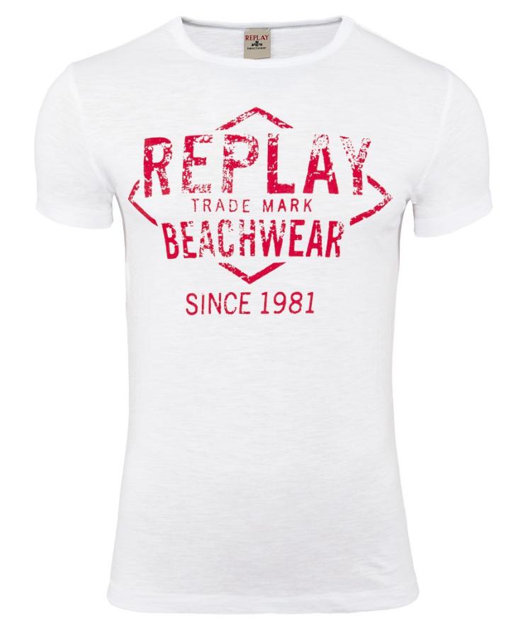 Replay Trade Mark Beachwear Rundhals T-Shirt in weiß (ab größe M) für 12,99 statt 49,90€ [Rakuten] mit kostenlosem Versand