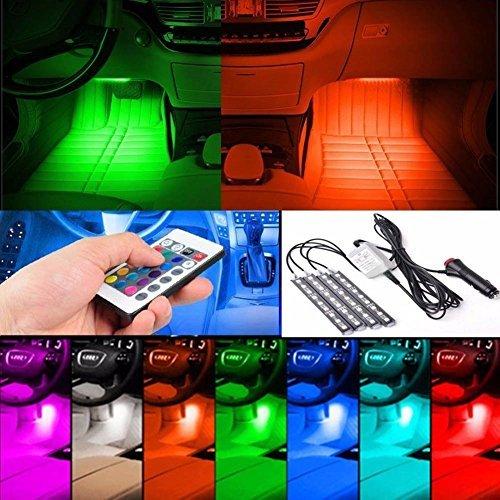 Enjoydeal Auto Innenraumbeleuchtung RGB Wasserdichte LED-Streifen mit Fernbedienung und KFZ-Ladegerät [Amazon Prime] 55% Rabatt Werbeaktion