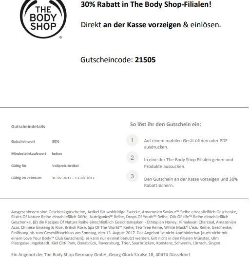 30% bei The Body Shop sparen / Offline Shop Gutschein ohne MBW