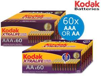 60x Kodak Alkaline-Batterien | AA oder AAA für 16,95€
