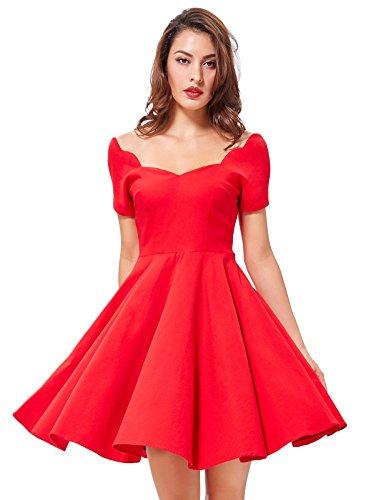 Damen Vintage Rockabilly Sommerkleid Swing Kleid Festliches Kleid Knielang für nur 10,99€ inkl. Prime Versand