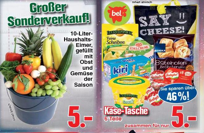 [lokal Fulda] Edeka Schwan verkauft Eimer voll mit Obst / Putzmitteln / Käse / Knabberzeug etc für 5€ jeweils