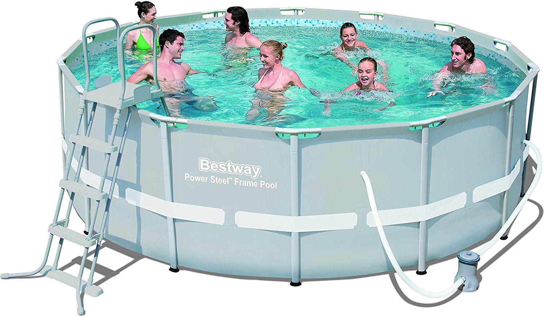 Frame Pool Power Steel Set, hellgrau mit Filterpumpe + Zubehör, 427 X 122cm