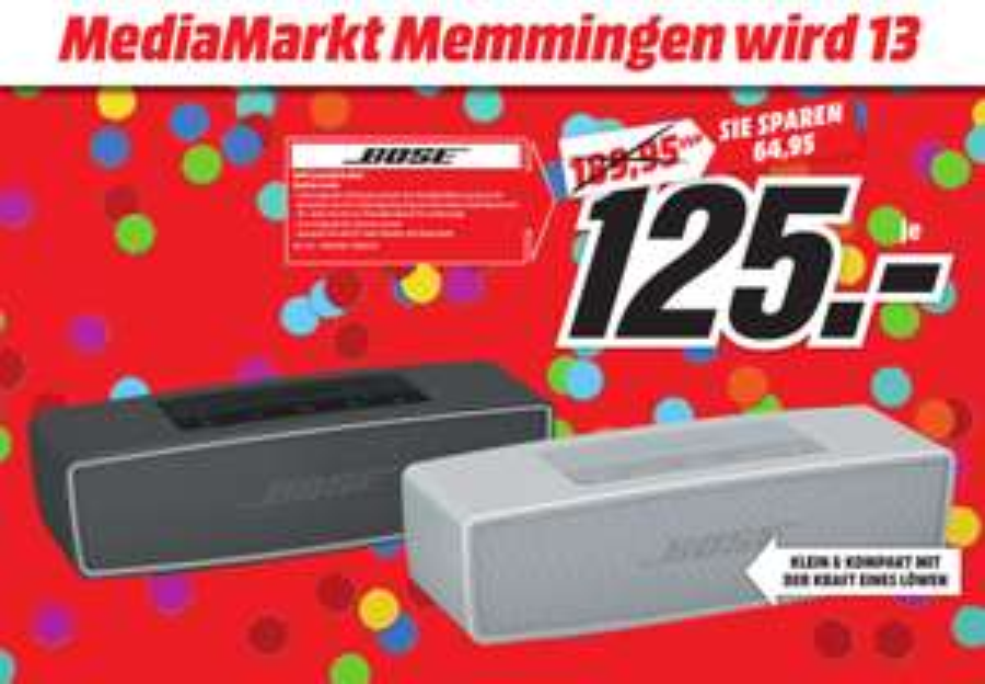 [Lokal Mediamarkt Memmingen] BOSE SoundLink Mini II Bluetooth Lautsprecher in 2 Farben für je 125,-€