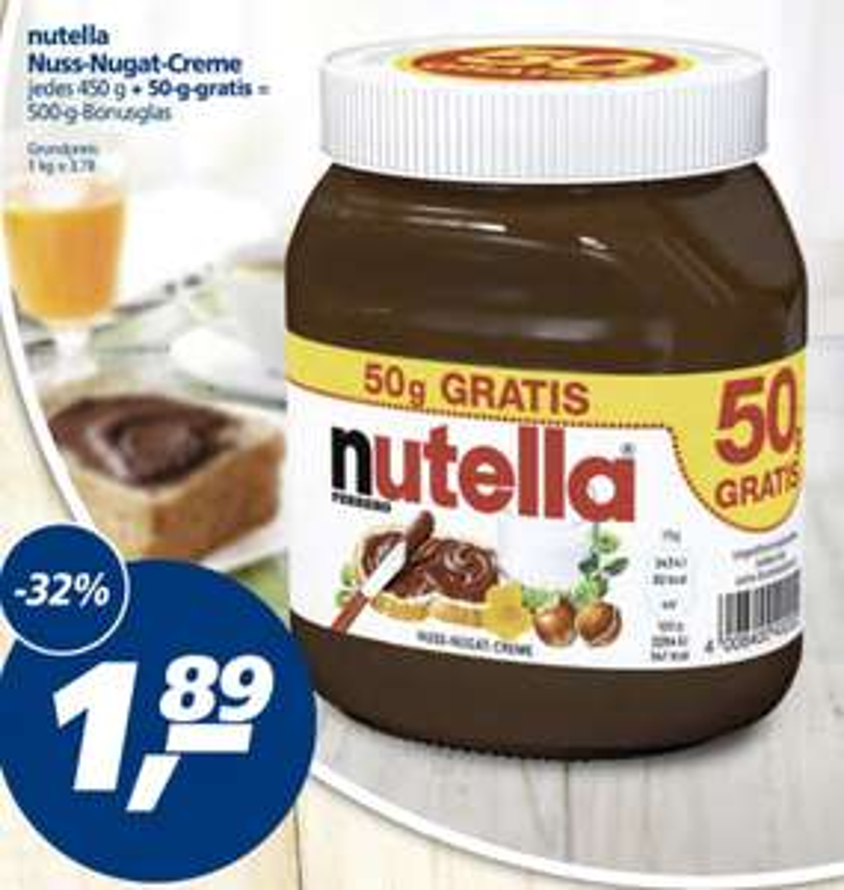 [real] 500 gramm Nutella 1,89€ // 3,78€/Kg