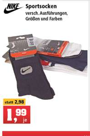 Nike Sportsocken in verschiedenen Ausführungen, Größen und Farben [Thomas Phillips Lokal]