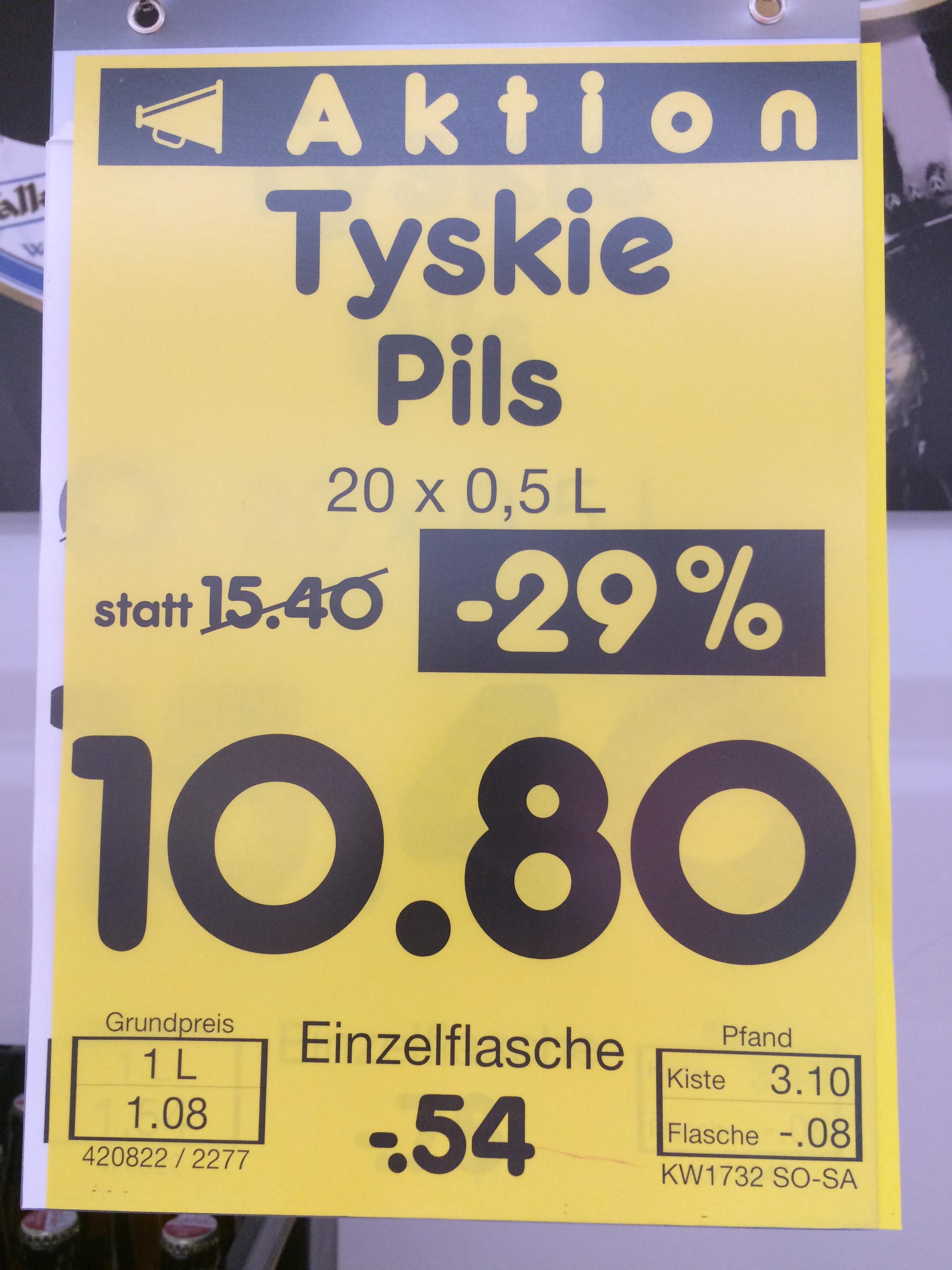 Tyskie Bier Pils Flasche: 54cent bei Netto