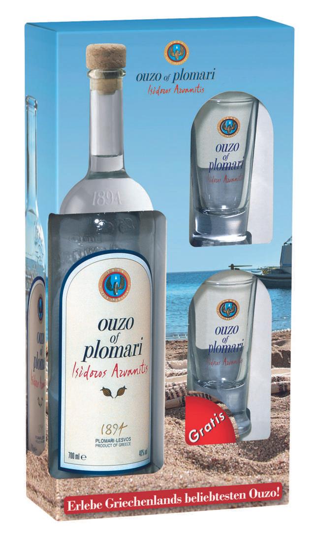 [Kaufland bundesweit] Ouzo of Plomari isidoros arvanitis 0,7L Flasche + 2 Gläser für 7,99€