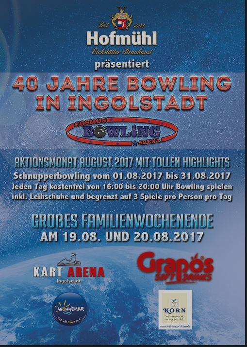 lokal/Ingolstadt-gratis Bowlen in der CosmosBowlingArena im  August 2017