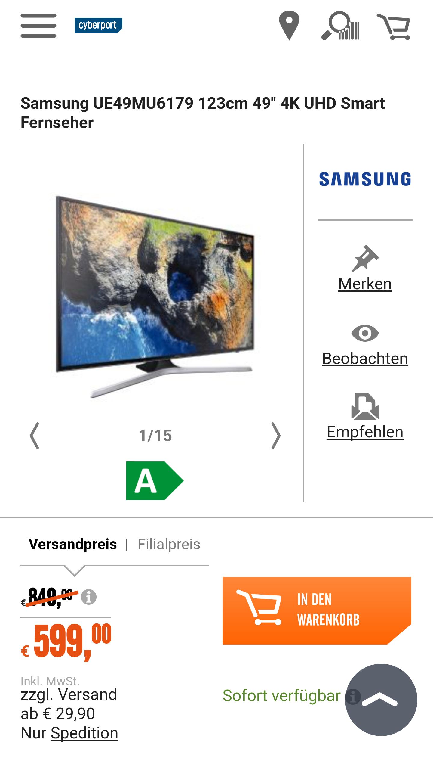 "Samsung UE49MU6179 123cm 49"" 4K UHD Smart Fernseher"