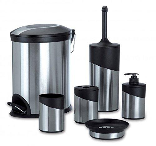 Edelstahl WC Badezimmer Set (6 teilig) mit Mülleimer   WC Bürste + Halter   Seifenspender   Zahnbürstenhalter   Seifenhalter   Universalbehälter