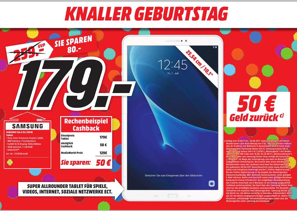 [Lokal Mediamarkt Memmingen] Samsung Galaxy Tab A 10.1 weiß für eff. 129€ durch 50€ Cashback