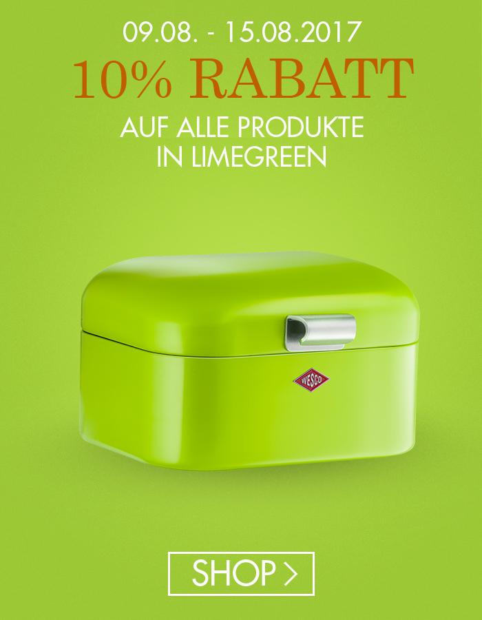 10% auf alles in Limegreen im WESCO Onlineshop bis zum 15.08.17