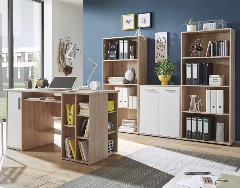 Komplettes Büro mit Schreibtisch, Kommode und 2 Regalen für 149€ versandkostenfrei bei XXXL