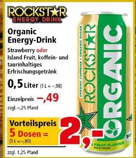 Ab 14.08 - 5 Dosen Rockstar Organic Energy Drink für 2 Euro (80ct/ Liter)