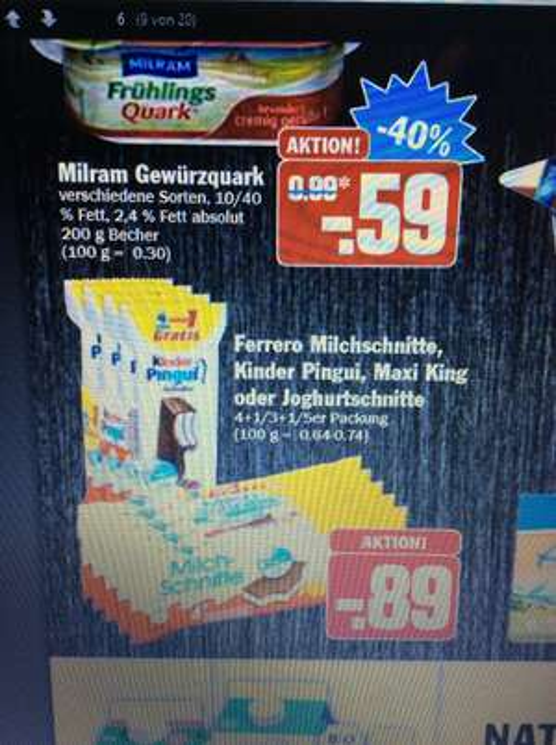 Kinder Maxi King,Pinguin,Milchschnitte für 0,89€