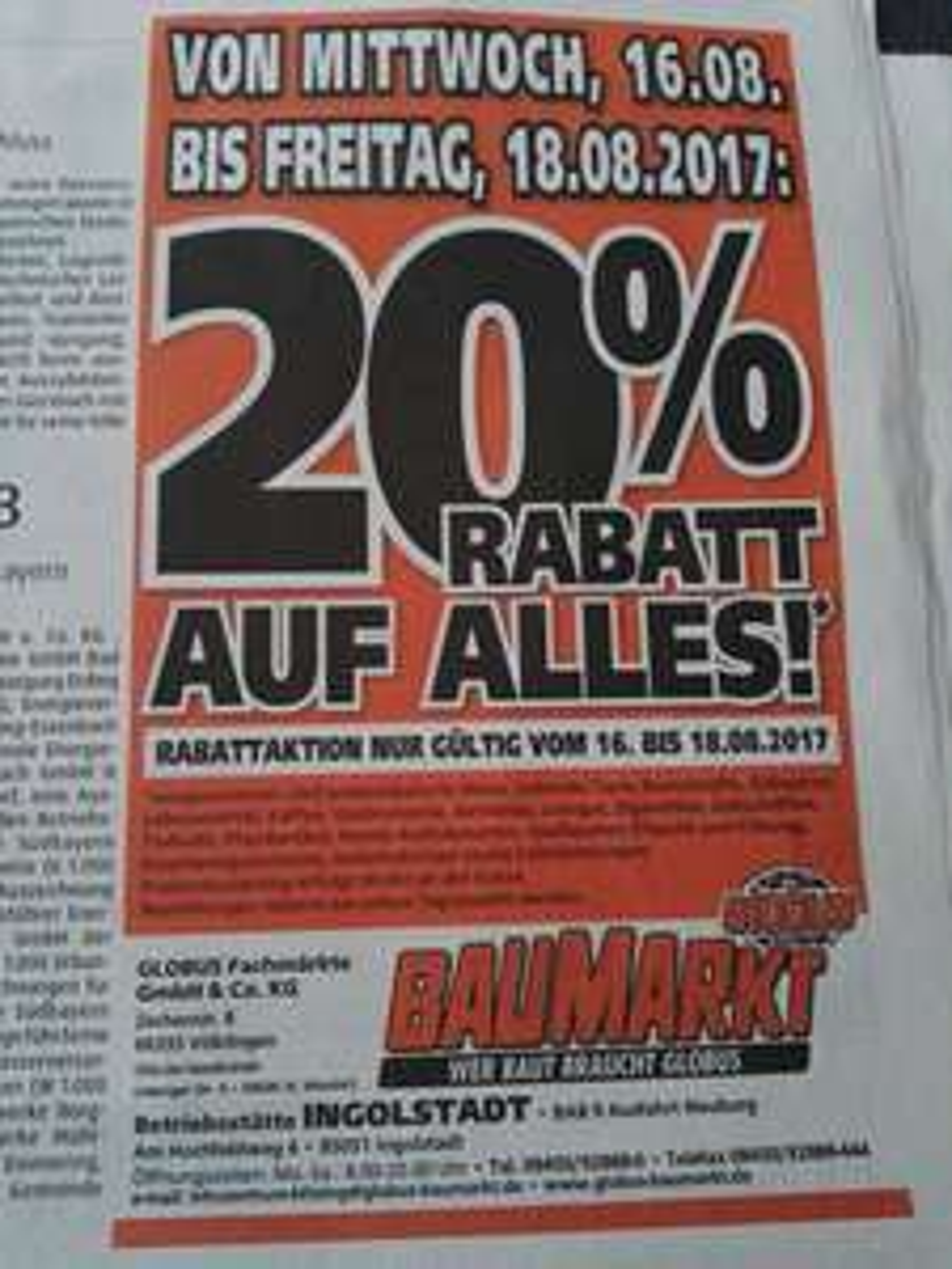Globus Baumarkt Ingolstadt 20% auf alles* 16.08 -18.08.2017