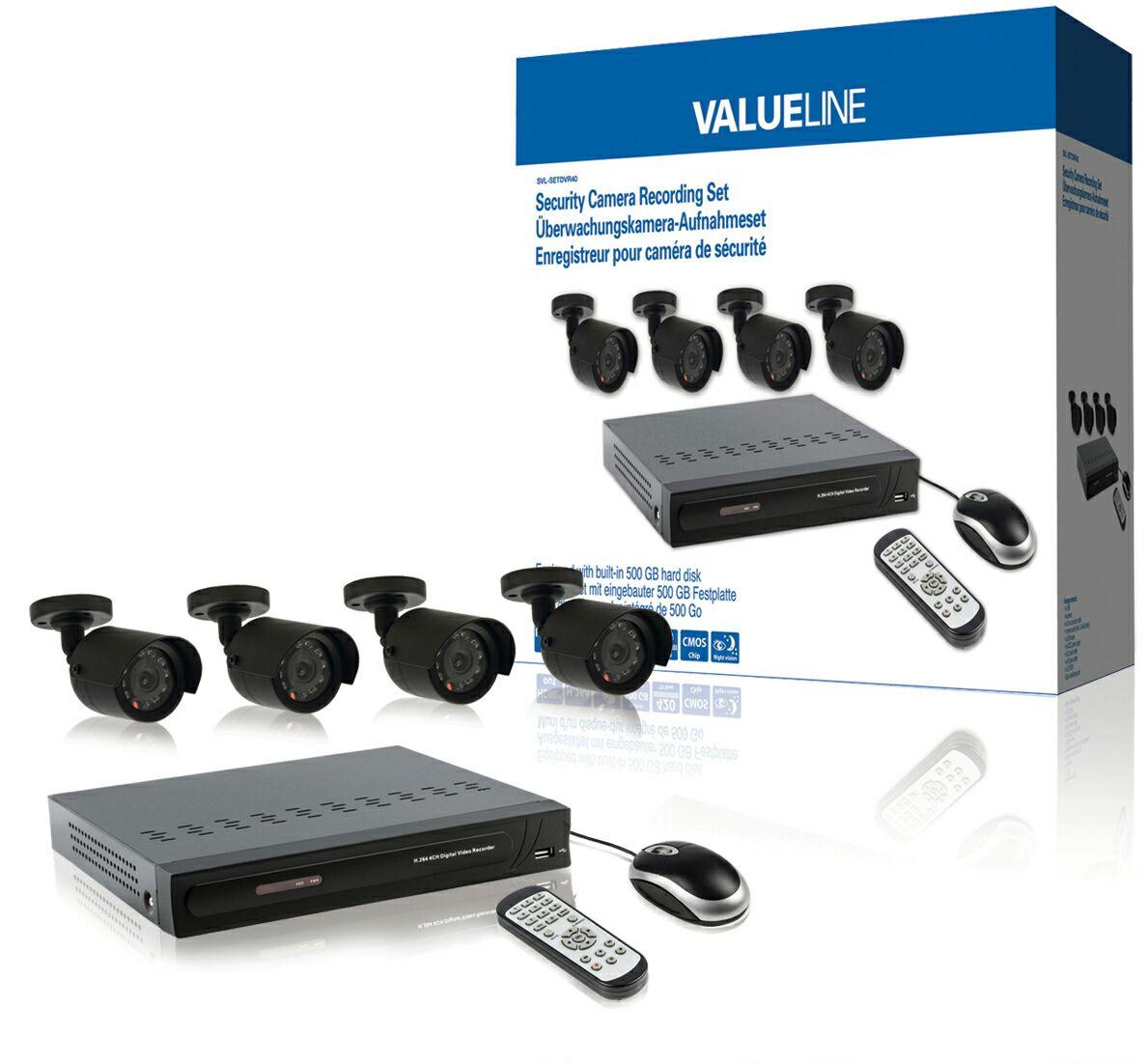 Valueline Überwachungskamera-Aufnahmeset mit eingebauter 500 GB Festplatte SVL-SETDVR40, real